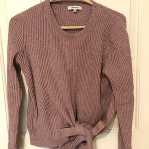 MADEWELL blush sweater with knot detail